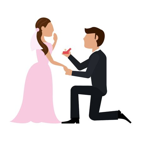 Wedding couple proposal cartoon vector illustration graphic design Фото со стока - 130137140