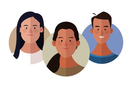 Young people face cartoons round icons vector illustration graphic design Ilustração