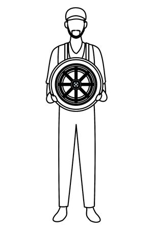 industry car manufacturing worker holding wheel cartoon vector illustration graphic design Reklamní fotografie - 130135313