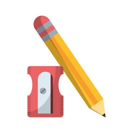 School utensils and supplies pencil and sharpener 스톡 콘텐츠 - 130135390