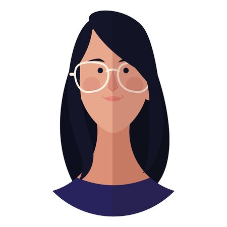 Woman with glasses face cartoon profile vector illustration graphic design