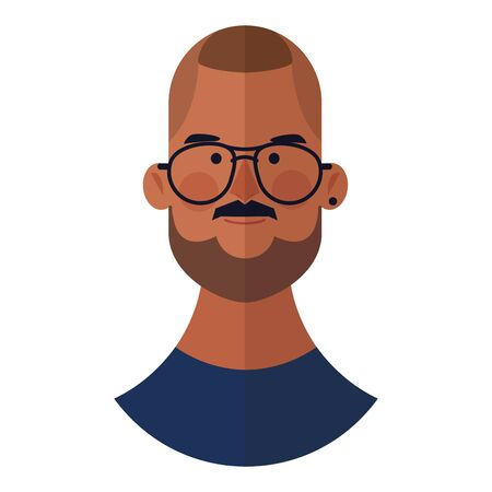 young man with beard face cartoon vector illustration graphic design