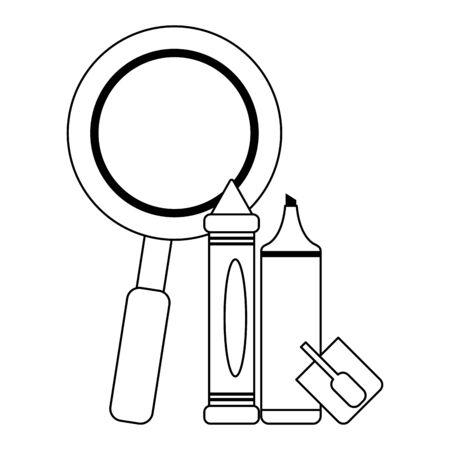 School utensils and supplies magnifying glass with marker and crayon Design 일러스트