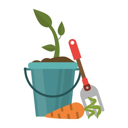 Carrot plant in bucket and rake vector illustration graphic design
