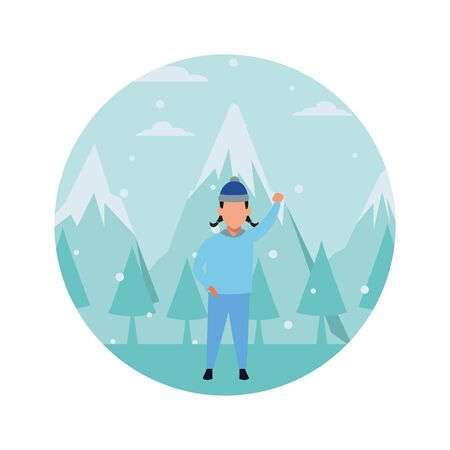 girl wearing winter clothes with knitted cap snow mountain lanscape round icon vector illustration graphic design