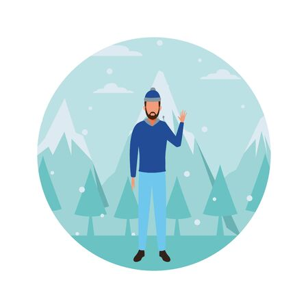 man wearing winter clothes with knitted cap snow mountain lanscape round icon vector illustration graphic design Illustration