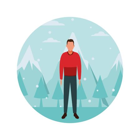 young man wearing sweater avatar cartoon character snow mountain lanscape round icon vector illustration graphic design