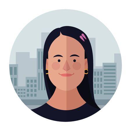 Woman face cartoon profile over cityscape building round icon vector illustration graphic design
