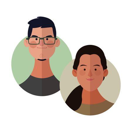 Young friends cartoons round icons vector illustration graphic design Ilustração