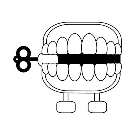 Joke teeth box cartoon isolated Designe