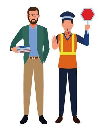 Jobs and professional workers vector illustration graphic design Illusztráció