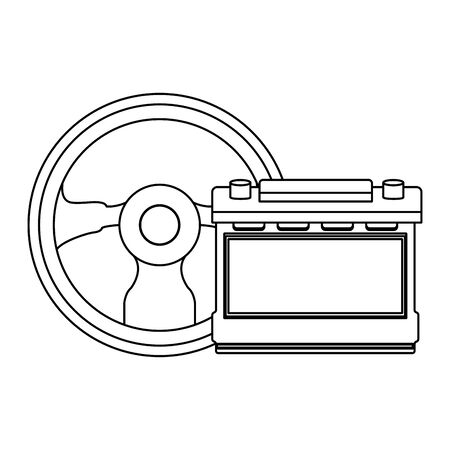 car service parts steering wheel and battery cartoon vector illustration graphic design