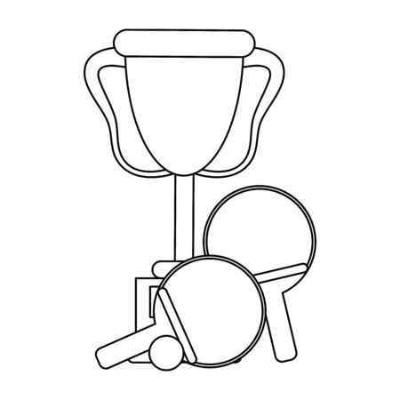 table tennis rackets and ball with trophy cup Design  イラスト・ベクター素材
