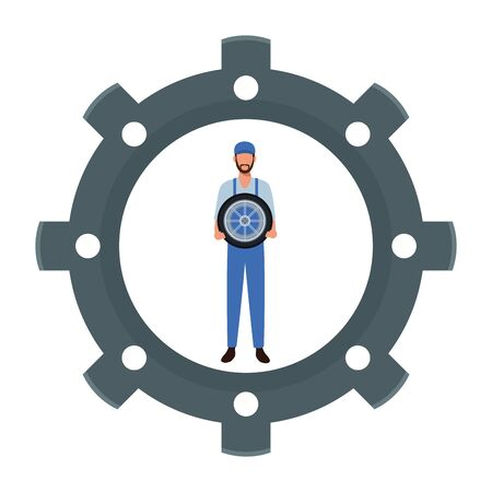 industry manufacturing worker gear support cartoon vector illustration graphic design