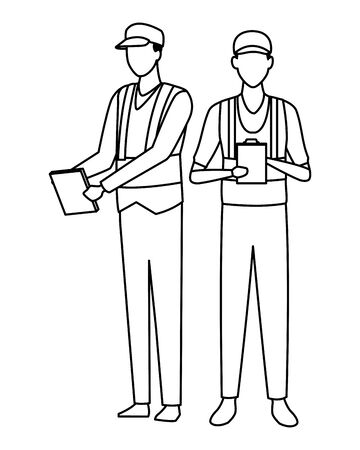 industry car manufacturing workers with notebooks cartoon vector illustration graphic design