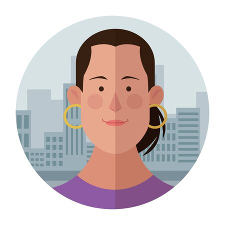 Woman with earrings face cartoon profile over cityscape building round icon vector illustration graphic design