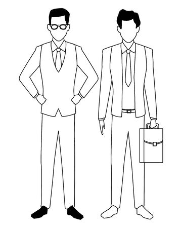 executive business men cartoon vector illustration graphic design  イラスト・ベクター素材