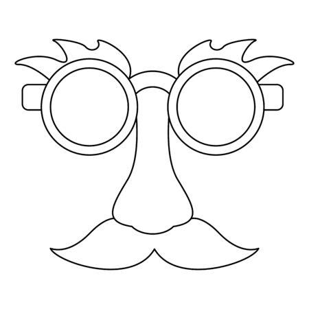 Glasses and mustache with nose joke Designe