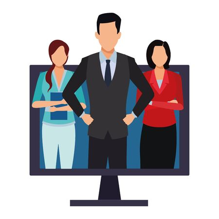 executive business coworkers people with computer screen cartoon vector illustration graphic design Illusztráció