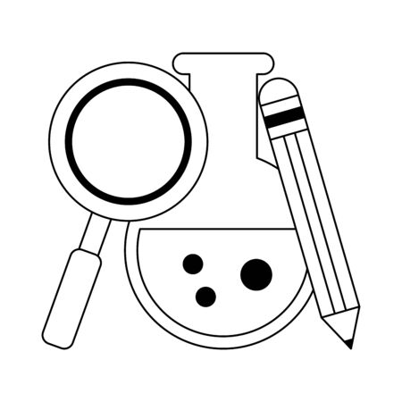 School utensils and supplies chesmitry flask with magnifying glass and pencil Designe