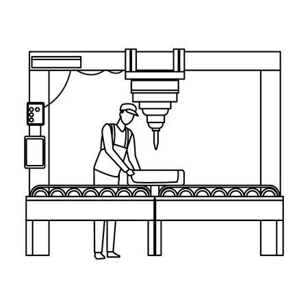 industry manufacturing worker manipulating machine cartoon vector illustration graphic design