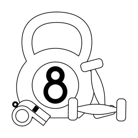 Kettlebell wwith dumbbells and whistle Designe Stock Illustratie