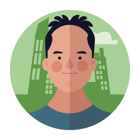 young man face cartoon over cityscape building round icon vector illustration graphic design