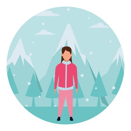 girl wearing winter clothes with jacket snow mountain lanscape round icon vector illustration graphic design  イラスト・ベクター素材