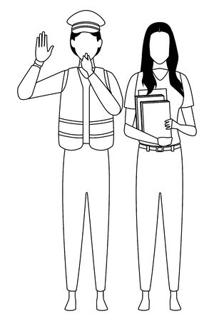 Jobs and professional workers in black and white vector illustration graphic design