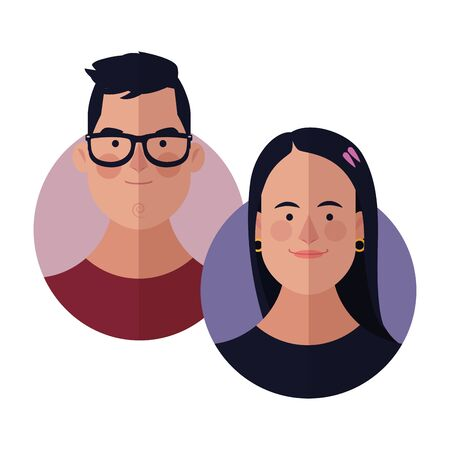 Young friends cartoons round icons vector illustration graphic design 스톡 콘텐츠 - 129932359
