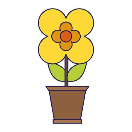 Flower in pot gardening cartoon isolated
