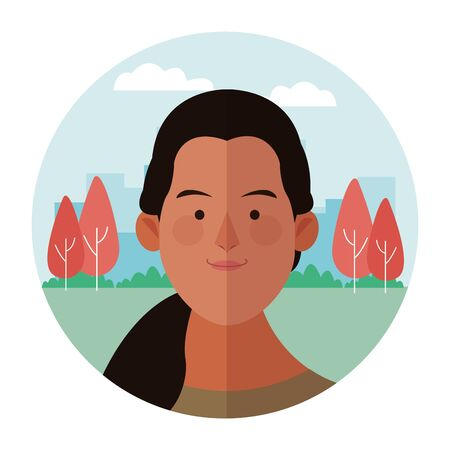 Woman face cartoon profile at nature park round icon vector illustration graphic design