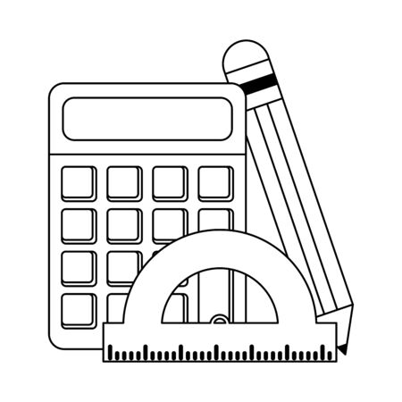 School utensils and supplies calculator and pencil with ruler Design