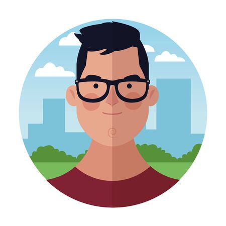 young man with glasses face cartoon over cityscape building round icon vector illustration graphic design