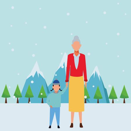 old woman with child wearing winter clothes and knitted cap snow mountain lanscape vector illustration graphic design Ilustrace