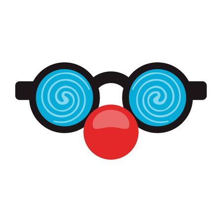 Glasses with clown nose cartoon isolated cartoon