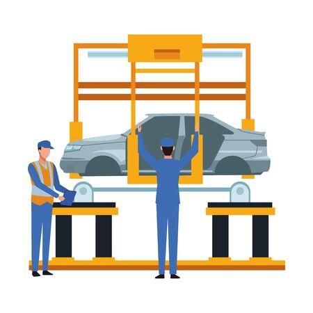 industry car manufacturing assembly car cartoon vector illustration graphic design Stock Illustratie