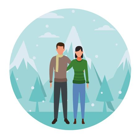 couple hugging wearing winter clothes and scarf snow mountain lanscape round icon vector illustration graphic design