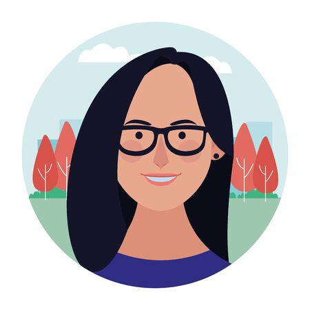 Woman with glasses face cartoon profile at nature park round icon vector illustration graphic design