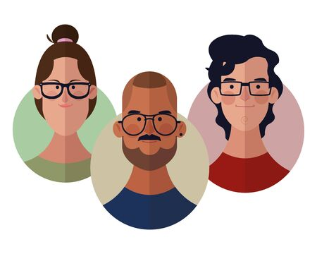 Young people face cartoons round icons vector illustration graphic design Illustration
