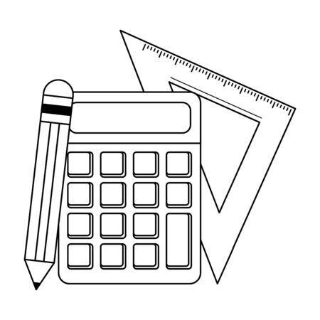 School utensils and supplies calculator and ruler with pencil Designe