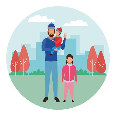 man with children avatars wearing winter clothes with knitted cap at park in cityscape round icon vector illustration graphic design