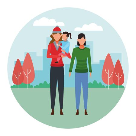 women and child avatar wearing winter clothes with knitted cap at park in cityscape round icon vector illustration graphic design