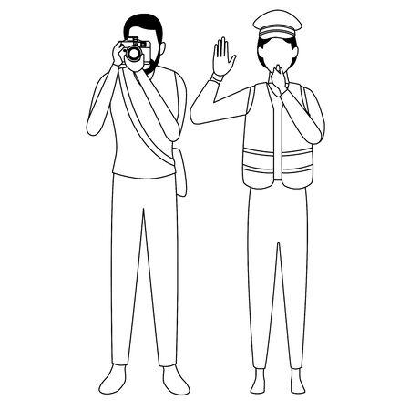 Jobs and professions professionals workers isolated vector illustration graphic design Illusztráció