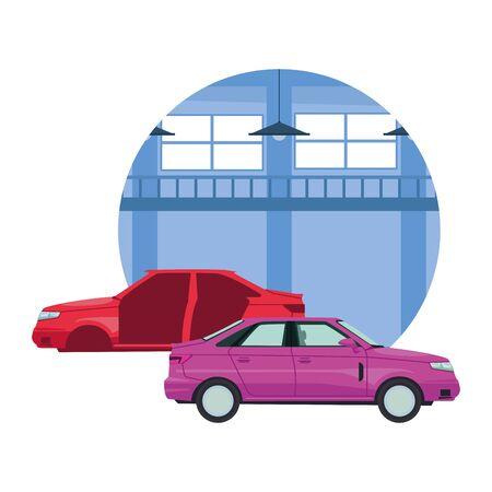 car service manufacturing cars cartoon vector illustration graphic design