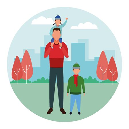 man with children avatars wearing winter clothes with scarf and knitted cap at park in cityscape round icon vector illustration graphic design