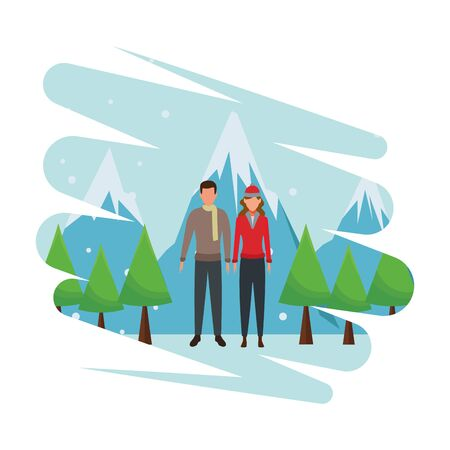 young couple avatars wearing winter clothes with knitted cap and scarf snow mountain lanscape vector illustration graphic design