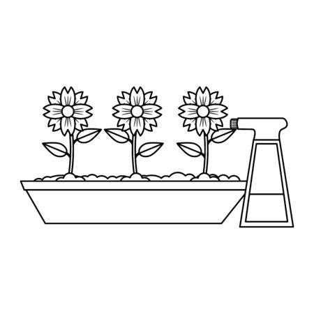 Gardening plants and tools flowers and water spray Design