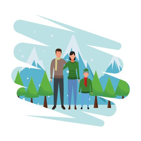 family avatar cartoon character wearing winter clothes snow mountain lanscape vector illustration graphic design
