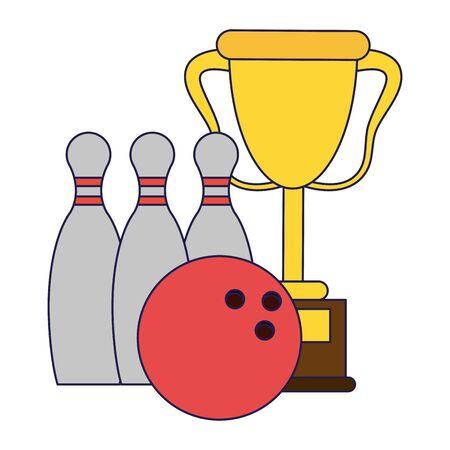 Trophy cup with pins and ball sport cartoon Design Illusztráció